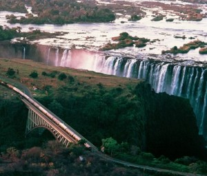 Rovos passing by Victoria Falls