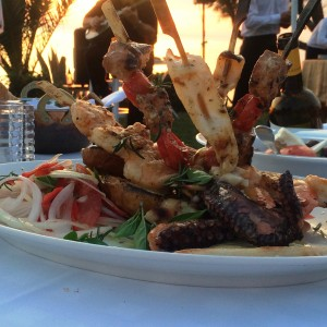 Just one of the delicious dishes served during Greek night at the Ouzerie