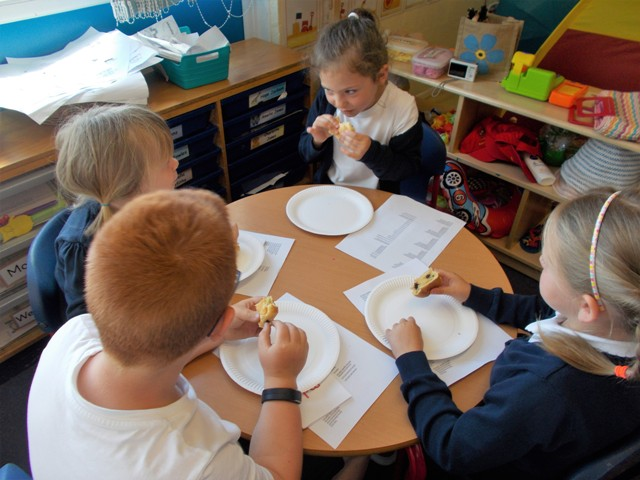 Year 1 pupils tasting French Food